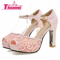 New women's fashion lace high heels sandals sexy platform party women sandals spring summer shoes woman white pink #Y0584563F