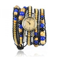 Handmade Chain and Beads Multicolor Wrap Watch by Hallomall