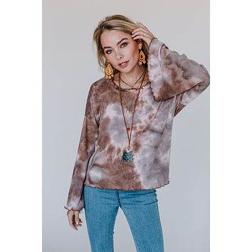 Collision Course Tie Dye Top - Mocha