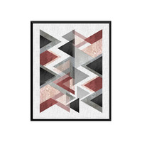 Triangle Print- Printable Art, Geometric Art, Scandinavian Art, Geometric Wall Art, Abstract Art Print,Digital print Instant Download