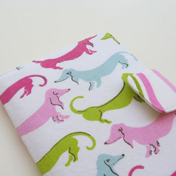 Nook Simple Touch Cover Kindle Fire Cover iPad Mini Cover Kobo Cover Case Pink Dachshund Weiner Wiener Sausage Dog eReader