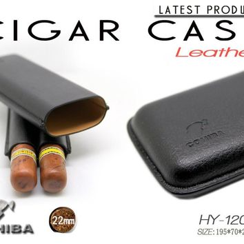 Cuban COHIBA Genuine Leather Cigar Humidor pipe box&case 22MM diameterportable travel humidor cigar holster