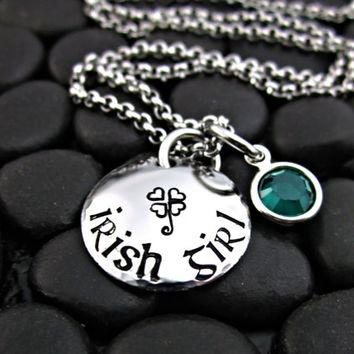 Irish Girl Necklace with Stamped Shamrock and Emerald Crystal