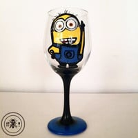 Minion wine glass - hand painted - 20 oz