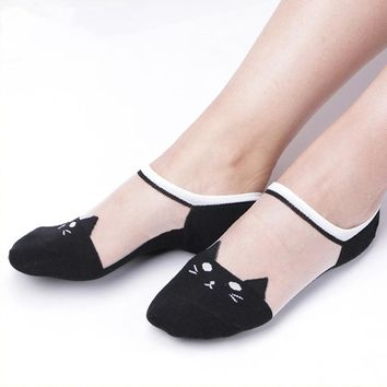 Summer Fashion Socks Ultra-thin Transparent Cute Cat Socks Women
