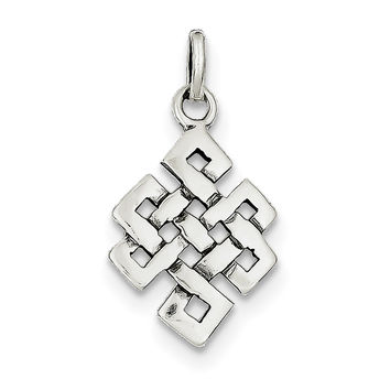 Sterling Silver Antiqued Square Celtic Knot Charm QC4713