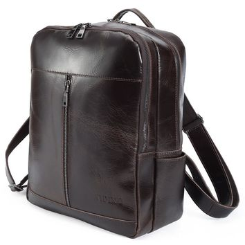 tiding Luxury Oil Wax Leather Mens Backpack 14'' Laptop Shoulder Bag Vintage Daypack Business Rucksack Brown