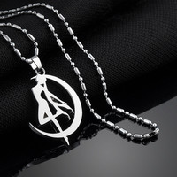 Cosplay Anime Sailor Moon Tsukino Usagi Necklace Long Metal Pendant Chain Kawaii Silver Necklaces & Pendants For Women Gril