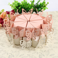 10pcs pack Pink White Butterfly Candy Bomboniere Boxes Baby Shower Christening Birthday Bridal Wedding Favors Creative Boxes