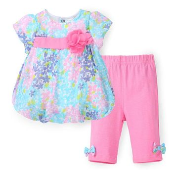 Pastel Flowers Girls Top and Pants Set -  18M and 3T