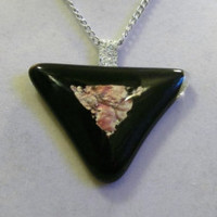 Triangular Glass Necklace, fused, triangle, silver, pink, black, decal, abstract, unique jewelry jewellery original ooak melted big nice