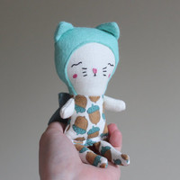 "Stuffed Cat Doll Fairy Mini Toy 6.75"" ish - Kawaii Kids Rag Animal for Toddler Gift Stocking Stuffer by Liberty Lavender Dolls"
