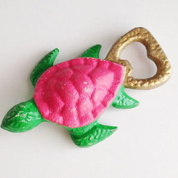 Preppy Turtle Bottle Opener, Pink and Green Turtle, Sorority Gift, Beach Beer Opener