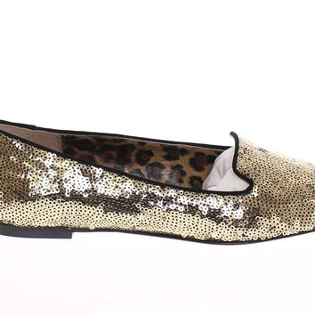 Gold Sequined Ballerinas Ballet Flats Shoes