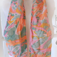 Vintage Psychedelic Scarf Hair Ribbon, Chiffon Scarf / Headband Mod Hip Orange Pink Green Flower Print Scarf