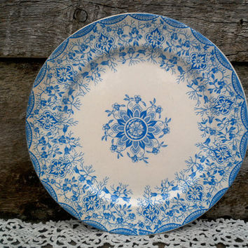 "Antique Blue Transferware, W.H. Grindley Daisy Pattern, Side Plate, 8 3/4"", Early Old Ironstone, Wall Decor, Circa, 1880"