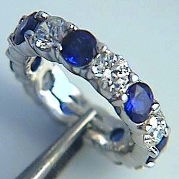7.80ct Platinum Diamond & Sapphire Eternity Wedding Band  JEWELFORME BLUE