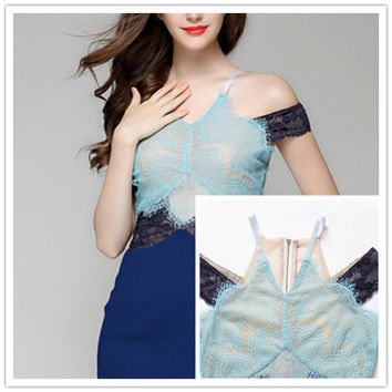 2016 Autumn/Winter Vogue Collection Three Floor blue Ladies Solid Sheath Sexy Lace Patchwork Dress High Quality Free Shipping