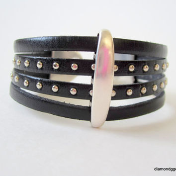 Wide Leather Cuff Edgy Studded Leather Bracelet In Vogue Women's Leather Cuff Gemma Black Leather Bracelet Silver and Black Leather Cuff