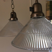 Vintage Pair Holophane Conical Pendant Lights Industrial 1940s