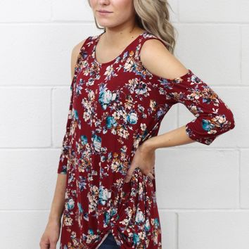 Falling for Floral Cold Should Get Twisted Top {Burgundy}