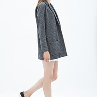 FOREVER 21 Tweed Boyfriend Blazer Black/White