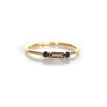 Smoky Quartz & Black Diamond Baguette Crush Ring