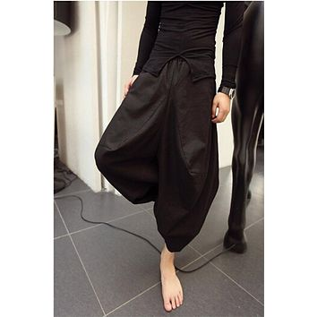 Trendy Punk Men's Oversized Crotch Hippy Boho Harem Baggy Loose Hakama Linen Pants Casual Culottes Nepal Trousers Costume