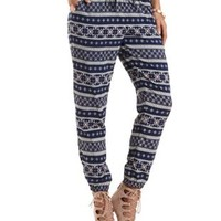 Fair Isle Print Drawstring Jogger Pants