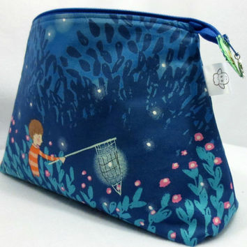 Knitting Project Bag, Fireflies Project Bag, Sock Knitting Bag, Zippered Project Bag, Wedge Bag, Drawstring Bag, Children Fireflies Fabric