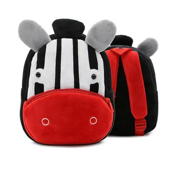 Cartoon Baby School Backpacks Kids Cute Animal Zebra Plush School Bag For Kindergarten Boys Girls Daily Bag Children Lovely Gift