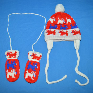 80s Dog Knit Red Over Ear Bobble Winter Hat Mittens Set
