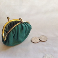 Vintage Teal Coin Purse with Metal Clasp