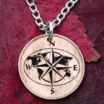 Map Necklace, Compass Jewelry, Engraved on an English Half Penny