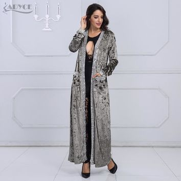 Adyce 2017 New Women Fashion COAT Gray Brown Long Sleeve Beading Long Style Coat Women Long Duster Coat Fashion Jacket