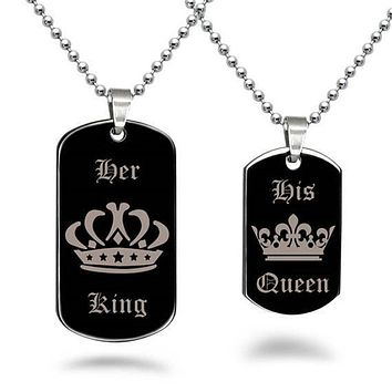 Her King His Queen Couple Jewelry Crown Dog Tag Pendant Necklace Valentine Gift