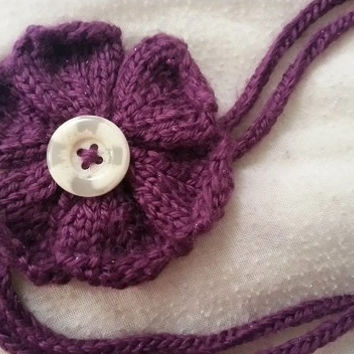 Knitted Flower Hair Band - Knit Flower - Knit Hair Band