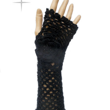 Irish Lace Crochet Fingerless Gloves Hand Warmers Merino Wool Soft Romantic Vintage Style Black