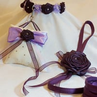 3 PC Swarovski Crystal Floral Collar, Leash and Ring Bearer Pillow Set Match Your Wedding Colors