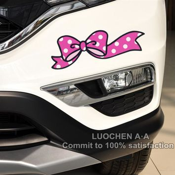 Hello Kitty Car Stickers Pink Bowknot Cute Lovely Cartoon Colorful Decals For Cover Scratches Auto Tuning A Pair 19*6cm D11