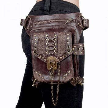 Brown Unisex Steampunk Gothic Hip and Holster Waist Bag Thigh Wallet
