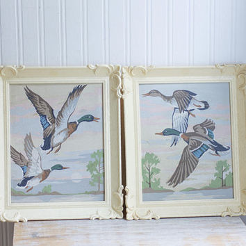 Vintage Paint By Number Ducks in Flight, Matching Framed Pair PBN Paintings 1960's Cottage Decor