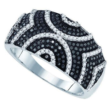 10K White-gold 0.60CT BLACK DIAMOND MICRO-PAVE RING