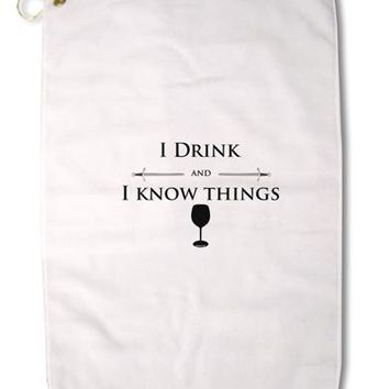 "I Drink and I Know Things funny Premium Cotton Golf Towel - 16"" x 25 by TooLoud"