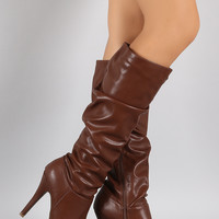 Bamboo Slouchy Platform Heeled Knee High Boots