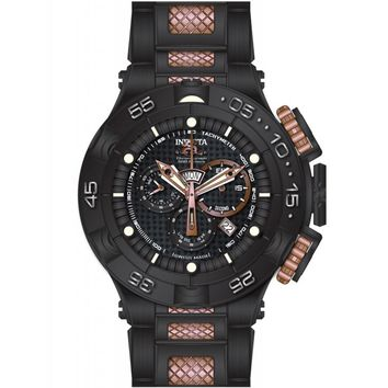 Invicta 15913 Men's Subaqua Chronograph Black Carbon Fiber Dial Black IP Steel Two Tone Bracelet Dive Watch