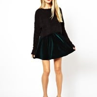 ASOS Skater Skirt in Velvet at asos.com