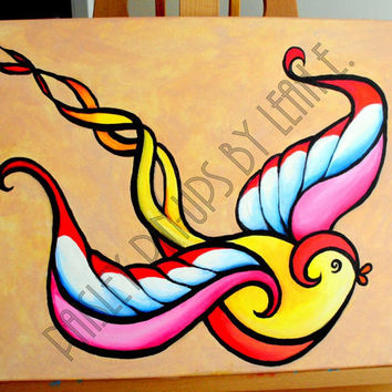 Sparrow Tattoo Art Painting acrylic on by PaisleyPinupsbyLeahE