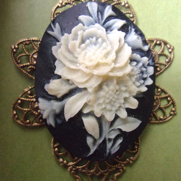 White Rose Cameo Pendant Necklace, Black Background, Victorian Revival Celluloid, Vintage