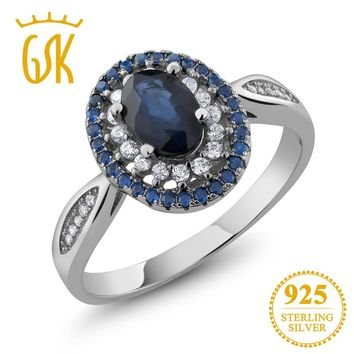 GemStoneKing 925 Sterling Silver Fine Jewelry 1.60 Ct Oval Blue Natural Sapphire Vintage Engagement Rings For Women